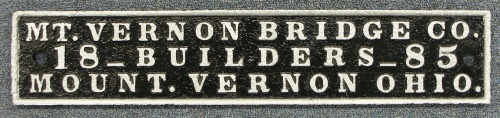 Mount Vernon Bridge Co. Builder's Plate-1885